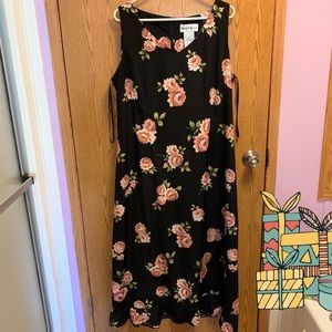 JC penny's black and pink floral midi dress